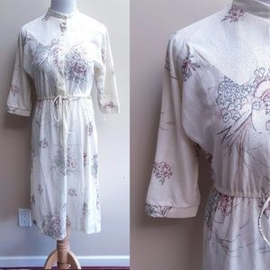Vintage Floral Dress Cream White S Small